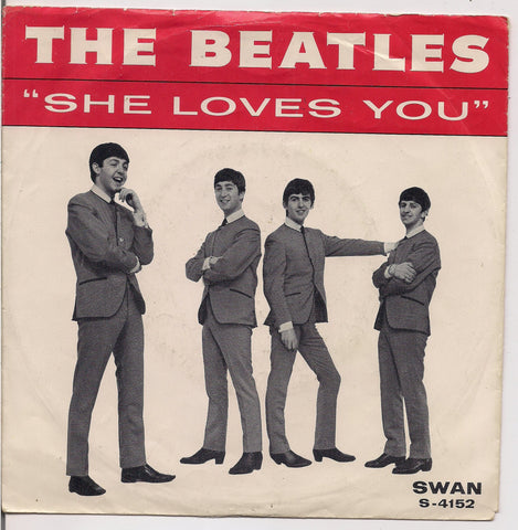 "BEATLEmania! 7"" Picture Sleeve Beatles,She Loves You-I'll Get You,John Lennon,Paul McCartney,George Harrison,Ringo Starr,British Invasion"