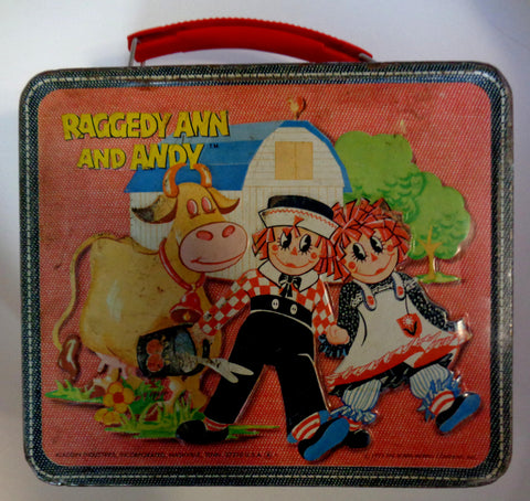 RAGGEDY ANN and ANDY,Very Nice,Vintage Metal Lunchbox,1973,Aladdin, Johnny Gruelle,Bobs-Merrill,Doll Collectible