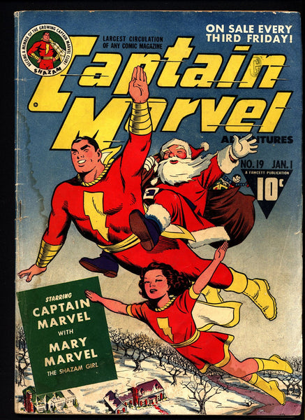 Marvel Christmas.Shazam Fawcett Comics Golden Age Captain Marvel Adventures 19 C C Beck Mary Marvel Christmas Cover Art National Periodical Publications