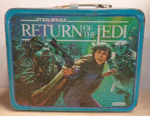 STAR WARS, Episode VI 6,Return of the Jedi,LucasFilm,Vintage Metal Thermos Lunchbox,1983,Luke Skywalker,Ewoks,Jaba the Hut,Lando Calrissian
