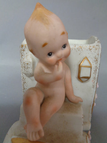 KEWPIE Doll, Vintage,Carriage Planter,KW2324B,Lefton,China,Hand Painted,bisque,Figurine,