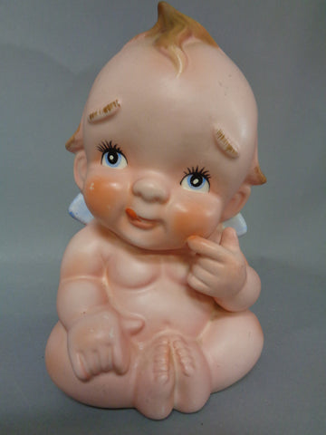 "KEWPIE Doll, # 2718,Large Lefton China,Japan,Bisque, Baby Figurine, Vase,Planter, 7 1/2"" Tall X 5"" Wide"