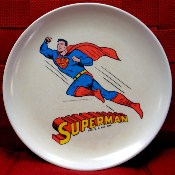 "DC Comics SUPERMAN, 1966,Melmac Dinnerware,8"" plate, Siegel & Joe Shuster,National Periodical Publications"