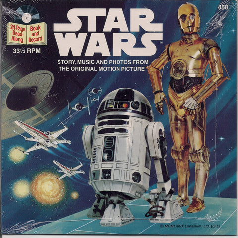 "STAR WARS, 1979, SEALED, Lucas Films,Disney,Kids, Childrens, Story Book & Record, 7"", 33 1/3 rpm, ep, C-3PO, R2D2,"