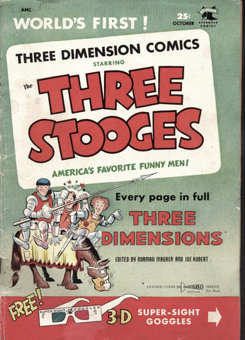THREE STOOGES 3D #2, Three Dimension Comic,s October 1953, St. John, Joe Kubert, Norman Maurer, Moe Larry & Curly Howard