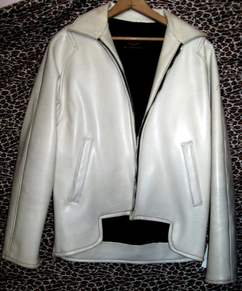 Swinging Sixties MOD White Vinyl Harley Davidson Motorcycle Jacket Emma Peel Marianne Faithful look