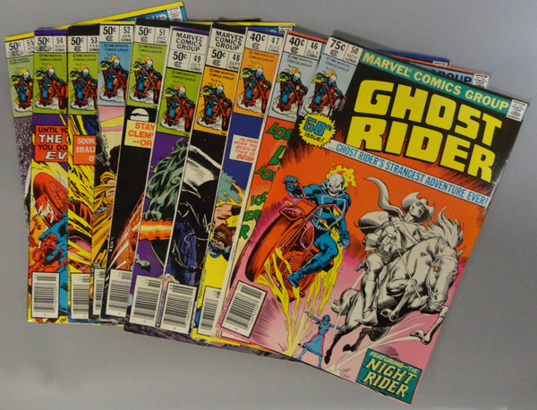 Original Marvel GHOST RIDER Lot of Vintage Comics #46,47,48,49,50,51,52,53,54,55 All VG+ or Better