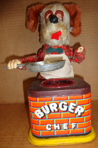 Battery Operated BURGER CHEF 1960s mechanical tin litho & plush toy DOG