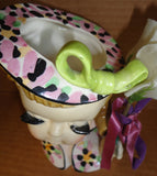 40s 50s Relco LADY Vintage Fashion porcelain Hand Painted HEAD VASE made in Japan