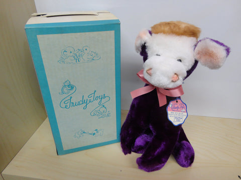TRUDY TOYS 50s Plush Purple Cow MINT in Near Mint Box Untouched Unplayed Clean with Original Tag