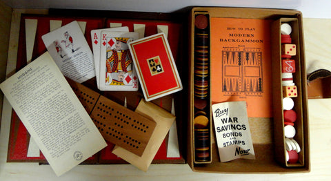 40s Original Mini Game set Muggins Cribbage Backgammon Playing Cards complete with booklets & Buy War Bonds