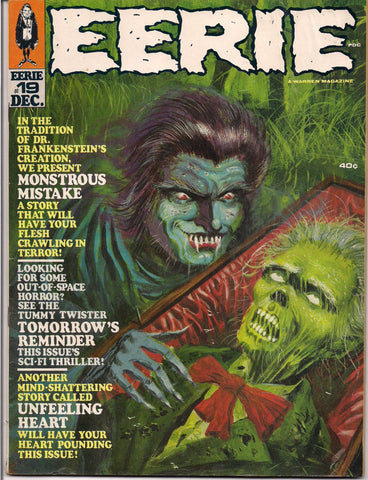 EERIE # 19 1968 Horror Comic Magazine Warren Pub Bram Stoker Gray Morrow Frankenstein Reed Crandall Ernie Colon