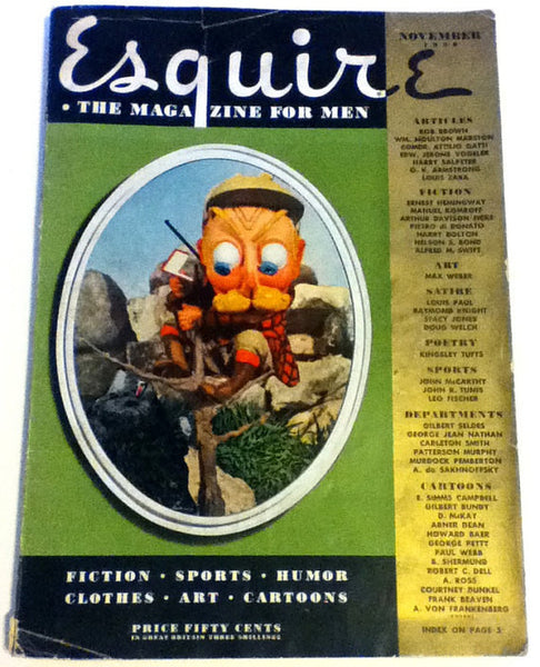Nov 1938 ESQUIRE magazine Ernest Hemingway Petty Girl Pin Up 1939 NY World's Fair Southern CREATIONISTS Vs Evolution Hurrell Joan Fontaine