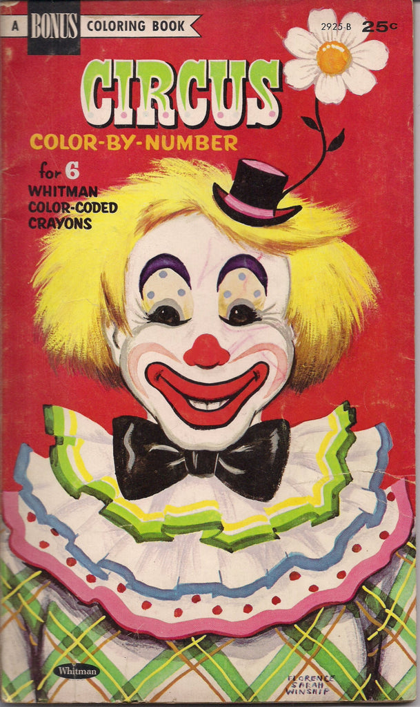 CIRCUS COLOR by NUMBER Children's Coloring Book Whitman 1966 Clowns & Circus Stuff