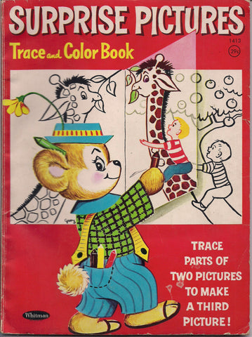 SURPRISE PICTURES Trace & Color Children's Coloring Book Whitman 1967 Kinda funny