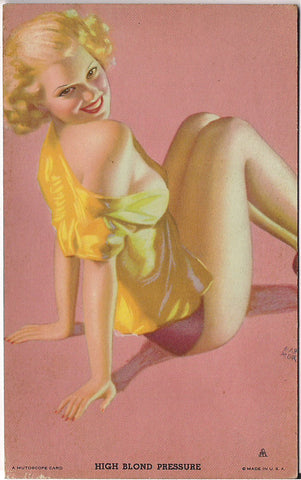 Rare Original 1940s EARL MORAN High Blond Pressure MUTOSCOPE Arcade card Cheesecake Pinup series