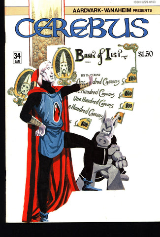 CEREBUS the Aardvark #34 DAVE SIM Aardvark-Vanaheim Fan Favorite Cult Self Published Alternative Conan the Barbarian Parody Comic Book