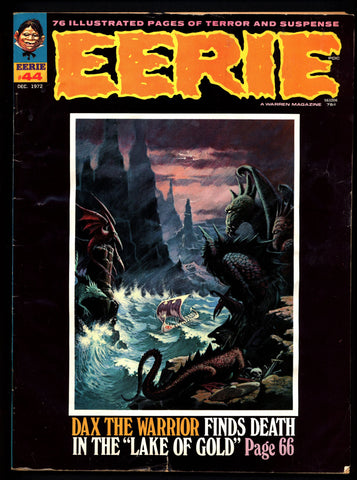 EERIE #44 Vintage Classic Horror Comic Warren Magazine DAX The Warrior Esteban Maroto Werewolf Luis Dominguez H G Wells