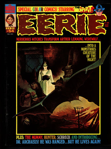 EERIE #54 Will Eisner Christmas SPIRIT in Color The HUNTER Werewolf Mummy Vintage Classic Horror Comic Warren Magazine Sanjulian