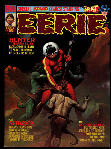 EERIE #55 Will Eisner 1946 SPIRIT in Color The HUNTER Dracula Schreck Doctor Archaeus Vintage Classic Horror Comic Warren Magazine
