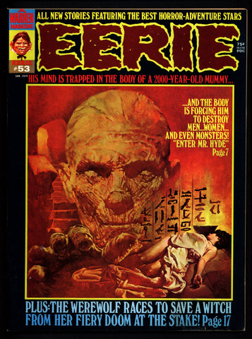 EERIE #53 Neal Adams The HUNTER Werewolf Mummy Vintage Classic Horror Comic Warren Magazine Sanjulian