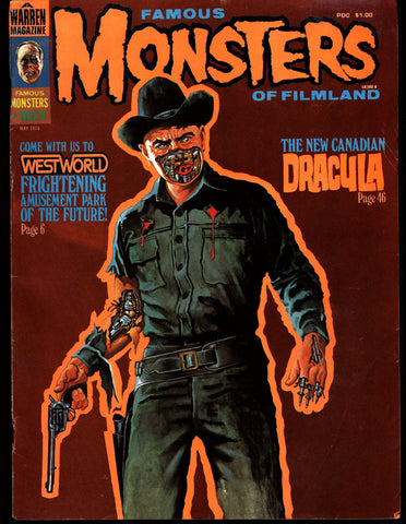 FAMOUS MONSTERS 107 West World Yul Brenner Frankenstein Dracula Bela Lugosi Boris Karloff Christopher Lee Hammer Universal Studios