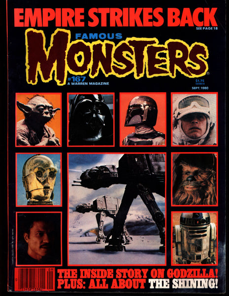 Famous Monsters 167 Horror Science Fiction Fantasy STAR WARS Empire Strikes Back Kubrick's SHINING Stephen King Godzilla Bava Black Sunday