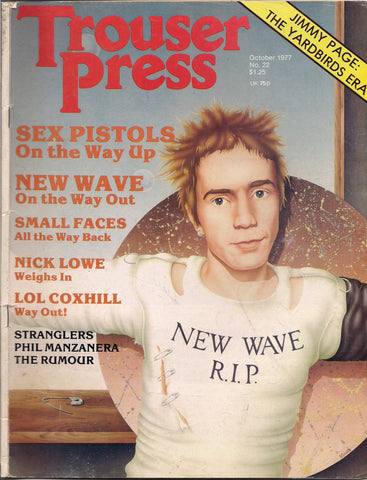 Trouser Press #22 1977 Johnny Rotten SEX PISTOLS New Wave YARDBIRDS Jimmy Page Small Faces Nick Lowe Stranglers Punk Rock and Roll Music