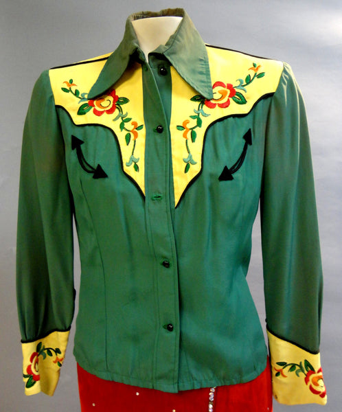 Nifty Green & Yellow Fifties COWGIRL Western embroidered Gab Shirt Small