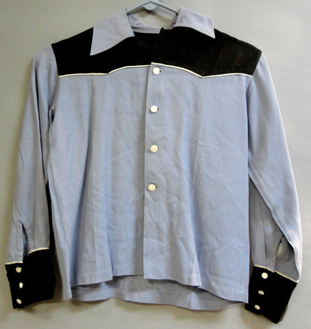 Nifty Periwinkle Fifties COWBOY or COWGIRL or Kid Western Gab Like Shirt Small