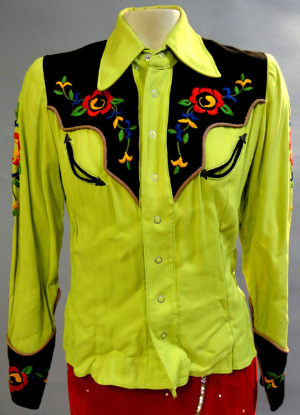 Spectacular Brilliant Lime Green ROCKABILLY Fifties Embroidered COWGIRL Western embroidered Shirt Small