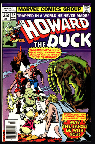 Marvel Comics HOWARD the DUCK 22 Star Wars Parody Man-Thing Steve Gerber Gene Colan Existential Anthropomorphic Funny Animal Social Satire