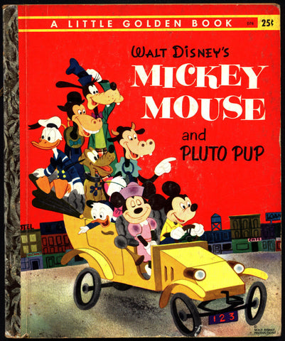 Walt Disney Mickey Mouse and Pluto Pup Little Golden Book D76 Elizabeth Beecher Campbell Grant Minnie Donald Duck Goofy Childrens Kids Book