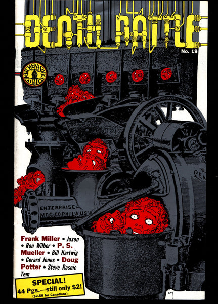 DEATH RATTLE #18 Frank Miller Jaxon Mature Horror Fantasy Science Fiction Psychedelic Underground Anthology Comic