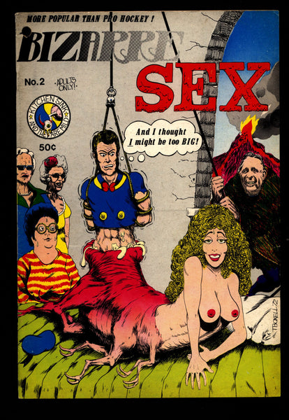 BIZARRE SEX #2 1st Grass Green Boxell Spiegelman Clyne Herring Willem Loft Horror Humor Science Fiction Hippie Underground *