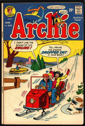Archie Comics  #226 1973 Dan DeCarlo Joe Edwards Harry Lucey Archie Andrews Jughead Betty & Veronica Riverdale High