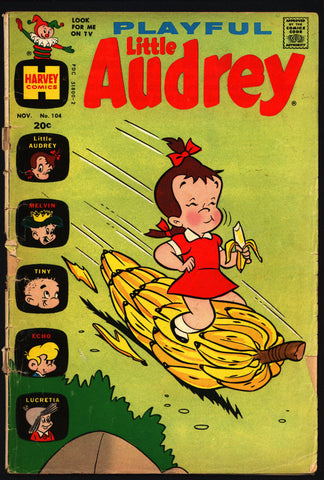 Playful LITTLE Audrey #104 1972 Paramount Picture's Famous Studios Harvey Toons Comics Melvin Tiny Echo Lucretia
