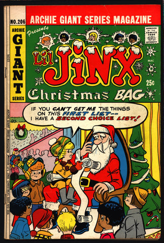 Archie Comics LI'L JINX Christmas Bag #206 1972 Giant Series Magazine