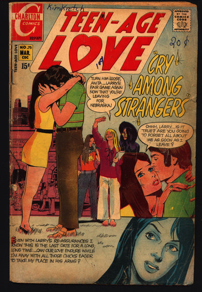 Teen-Age LOVE #75 1970 ROMANCE Comics Tear Jerker Soap Opera Charlton Comic