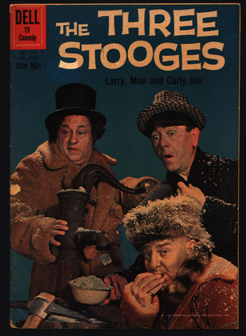 THREE 3 STOOGES Dell Comics Four Color TV Comedy #1078 Classic Moe Howard, Larry Fine, Curly Joe, slapstick screwball parody