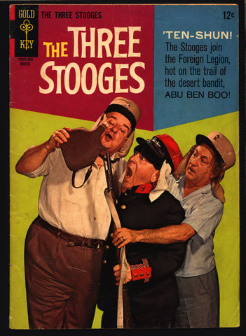 THREE STOOGES #27 Gold Key Comics TV Comedy #10005-603 Moe Howard, Larry Fine, Curly Joe, slapstick French Foreign Legion parody