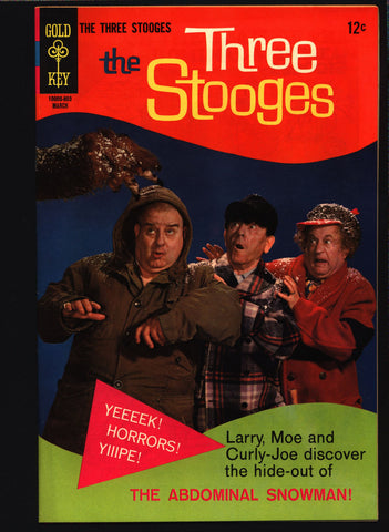 THREE STOOGES #38 Gold Key Comics TV Comedy #10005-803 Moe Howard, Larry Fine, Curly Joe, slapstick Abominable Snowman Monster parody