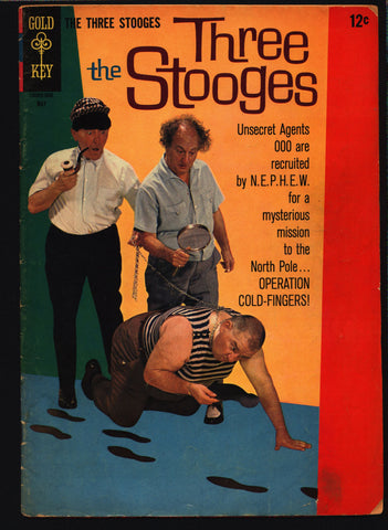 THREE STOOGES #28 Gold Key Comics TV Comedy #10005-605 007 Moe Howard, Larry Fine, Curly Joe, slapstick James Bond Man from Uncle Spy Parody