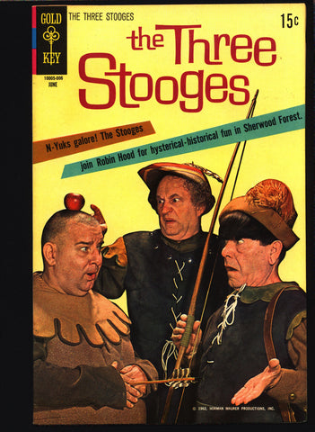 3 THREE STOOGES #47 Gold Key Comics TV Comedy #10005-006 Moe Howard, Larry Fine, Curly Joe, Slapstick Robin Hood Merry Men Parody