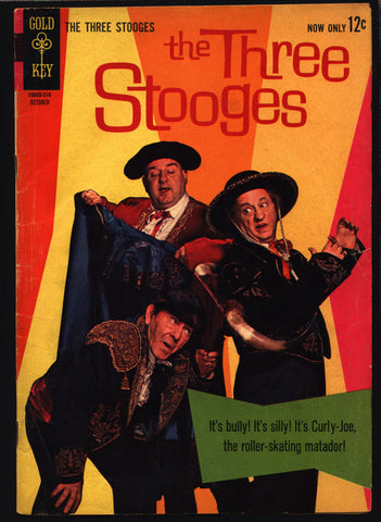 3 THREE STOOGES #14 Gold Key Comics TV Comedy #10005-310 Moe Howard, Larry Fine, Curly Joe, Matador Bullfighting Slapstick Parody