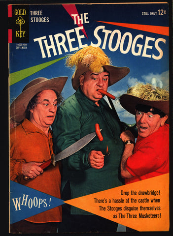 3 THREE STOOGES #19 Gold Key Comics TV Comedy #10005-409 Moe Howard, Larry Fine, Curly Joe, Three Musketeers Slapstick Parody