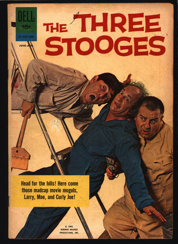 THREE STOOGES #9 1959 Dell Comics Four Color TV Comedy #01-827-208 Moe Howard, Larry Fine, Curly Joe, Classic screwball slapstick parody