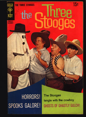 THREE STOOGES #41 Gold Key Comics TV Comedy #10005-812 Moe Howard, Larry Fine, Curly Joe, slapstick Ghosts & Cowboys Parody