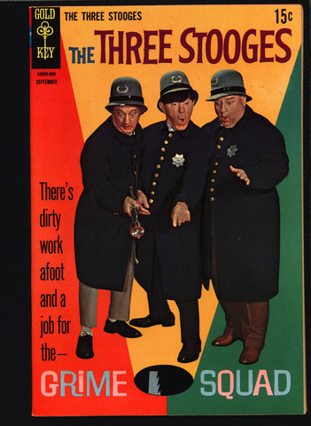 3 THREE STOOGES #40 Gold Key Comics TV Comedy #10005-809 Moe Howard, Larry Fine, Curly Joe, Cops Crime Caper Parody