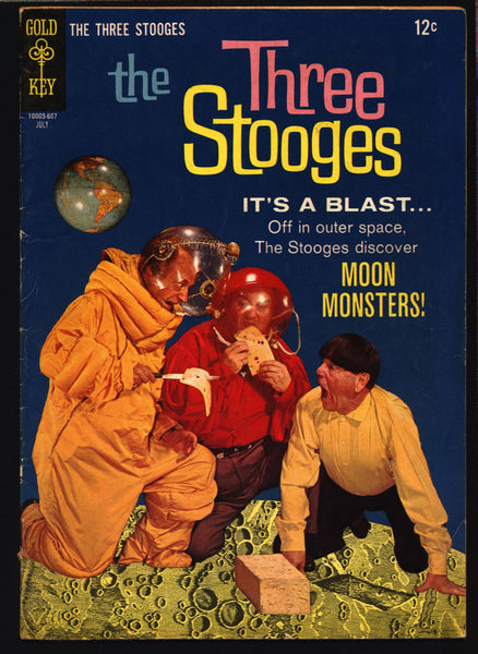 3 THREE STOOGES #29 Gold Key Comics TV Comedy #10005-607 Moe Howard, Larry Fine, Curly Joe, Moon Monsters Slapstick SciFi Parody